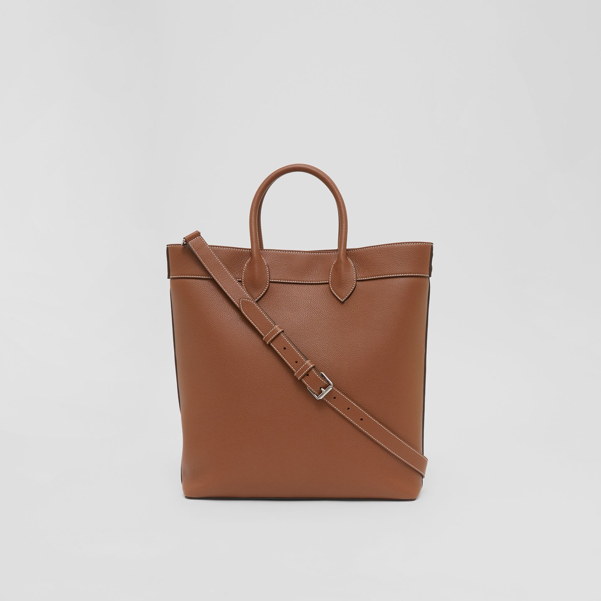 Grainy Leather Tote in Tan | Burberry - gallery image 9