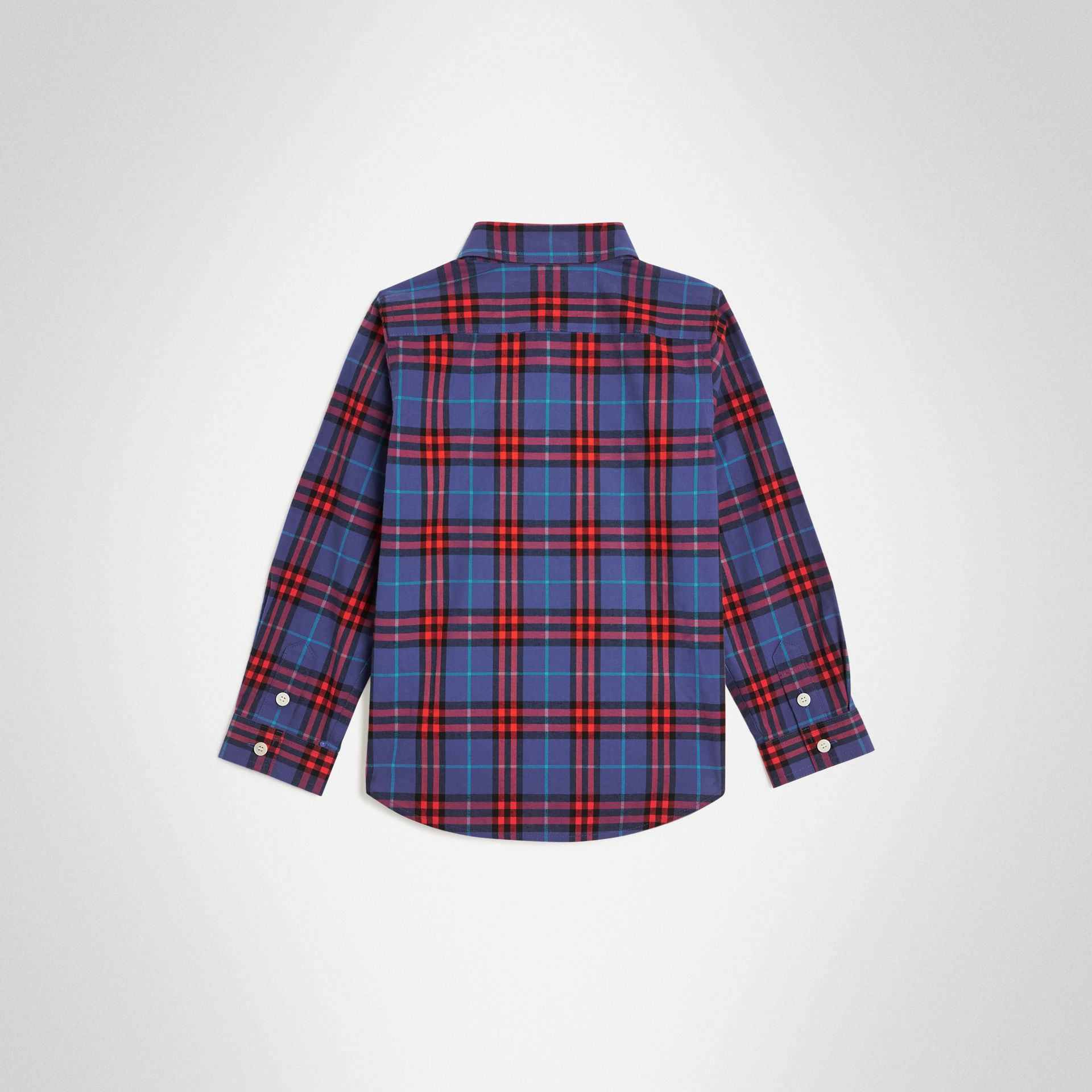 Button-down Collar Check Flannel Shirt in Sapphire Blue | Burberry Canada - gallery image 3