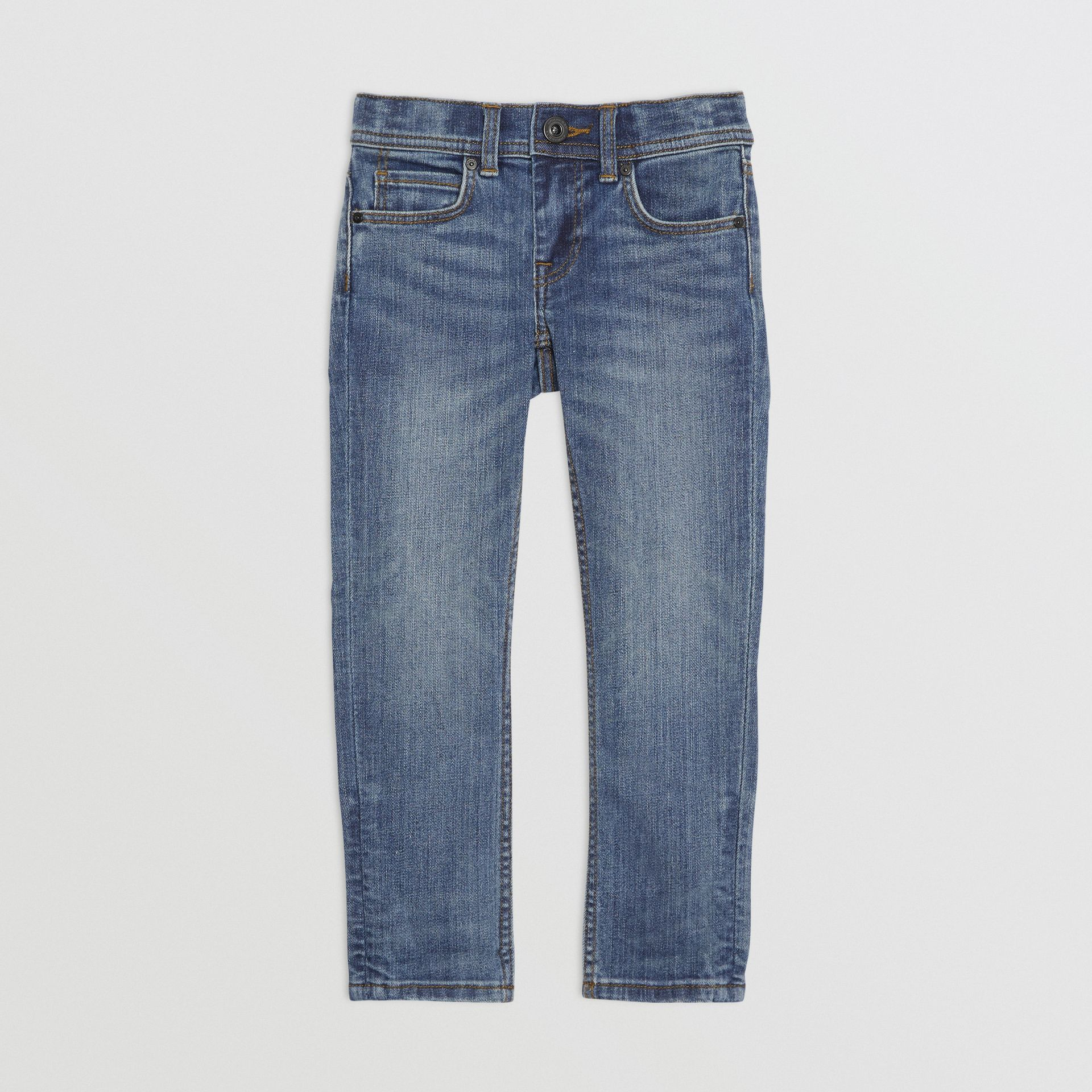 Skinny Fit Stretch Denim Jeans in Mid Indigo - Girl | Burberry United Kingdom - gallery image 0