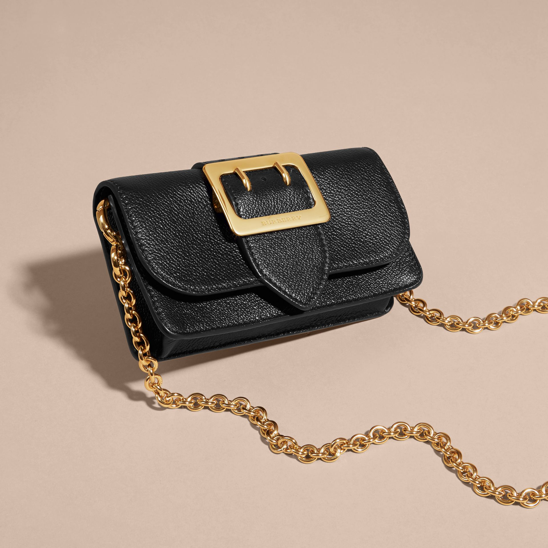Black The Mini Buckle Bag in Grainy Leather Black - gallery image 6