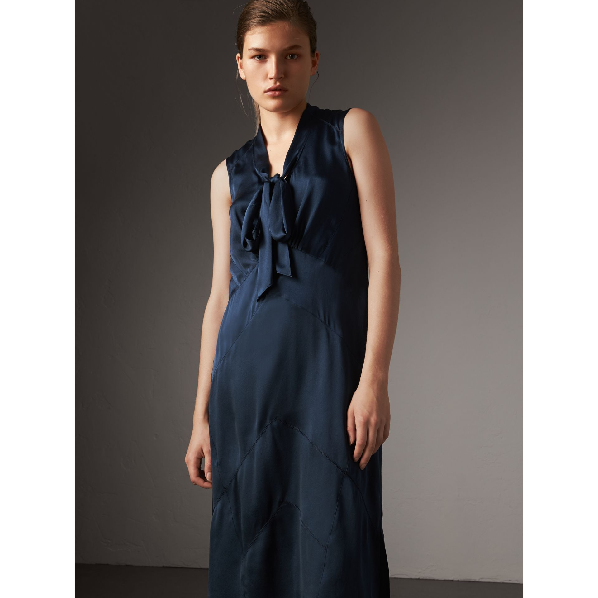Washed Silk Satin Tie-neck Dress in Navy - Women | Burberry - gallery image 1