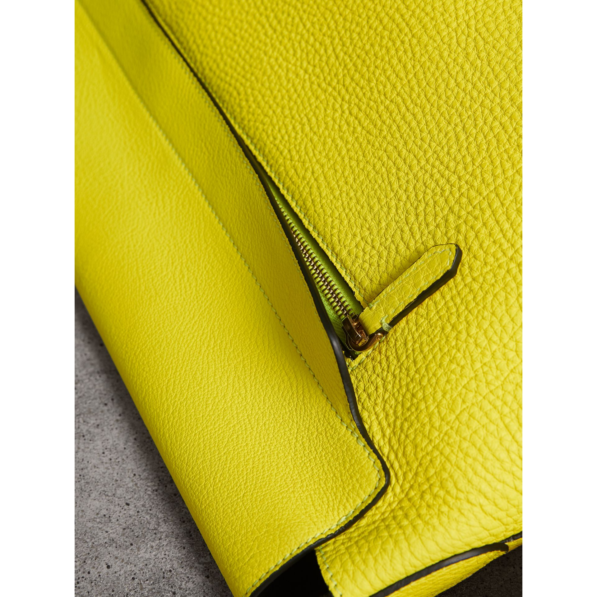 Large Embossed Leather Messenger Bag in Neon Yellow | Burberry - gallery image 6