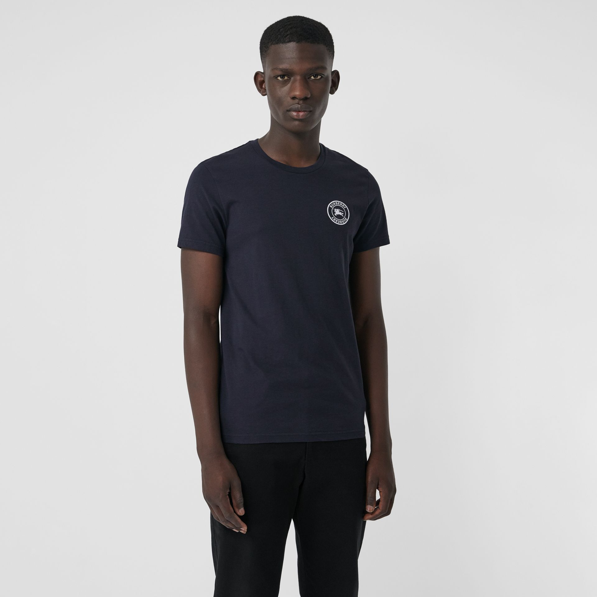 Embroidered Logo Cotton T-shirt in Navy - Men | Burberry - gallery image 4