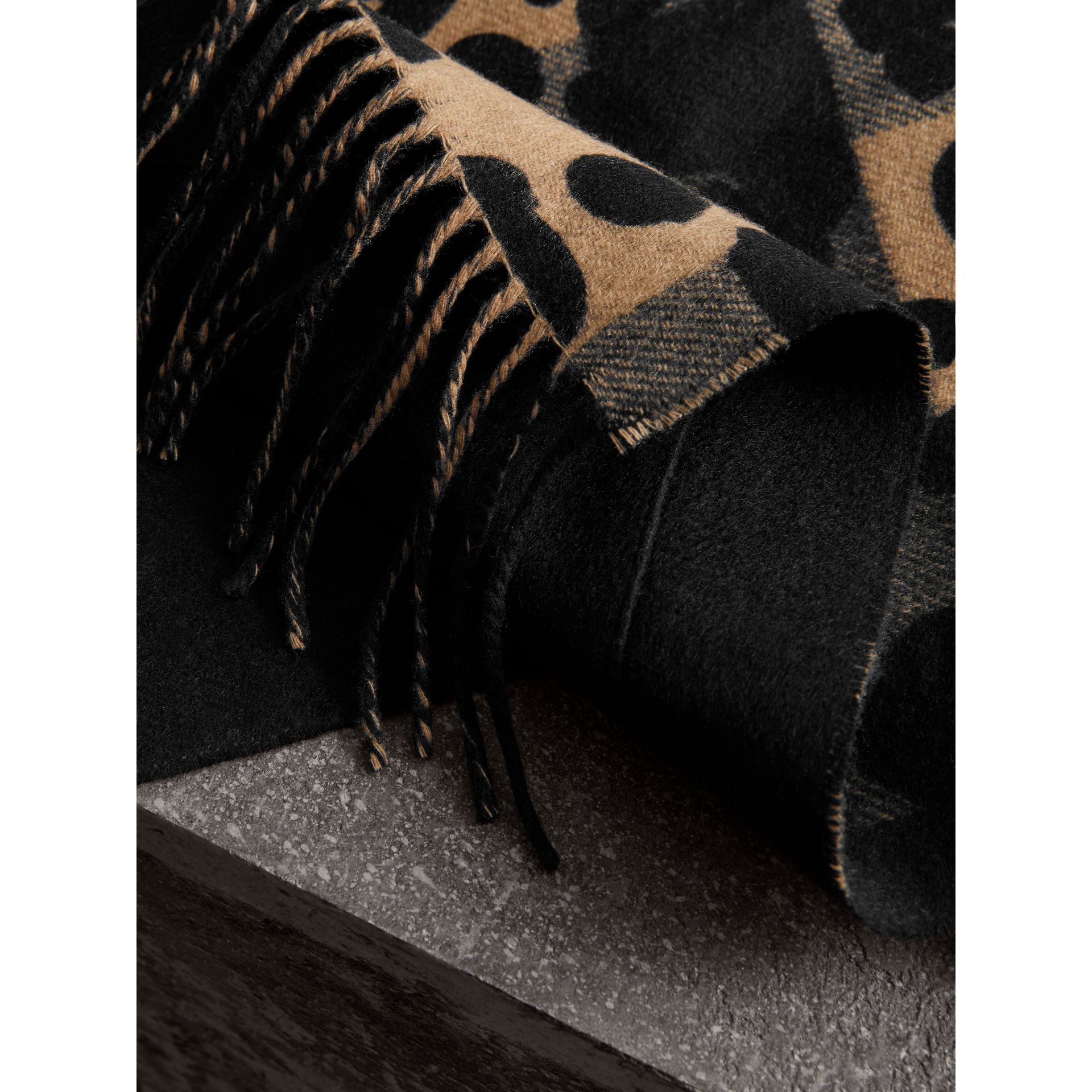 Animal Pattern Merino Wool Cashmere Stole in Camel - Women | Burberry Australia - gallery image 2