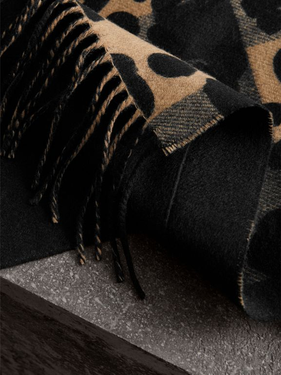 Animal Pattern Merino Wool Cashmere Stole in Camel - Women | Burberry - cell image 1