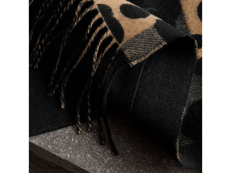 Animal Pattern Merino Wool Cashmere Stole in Camel - Women | Burberry Canada - cell image 1