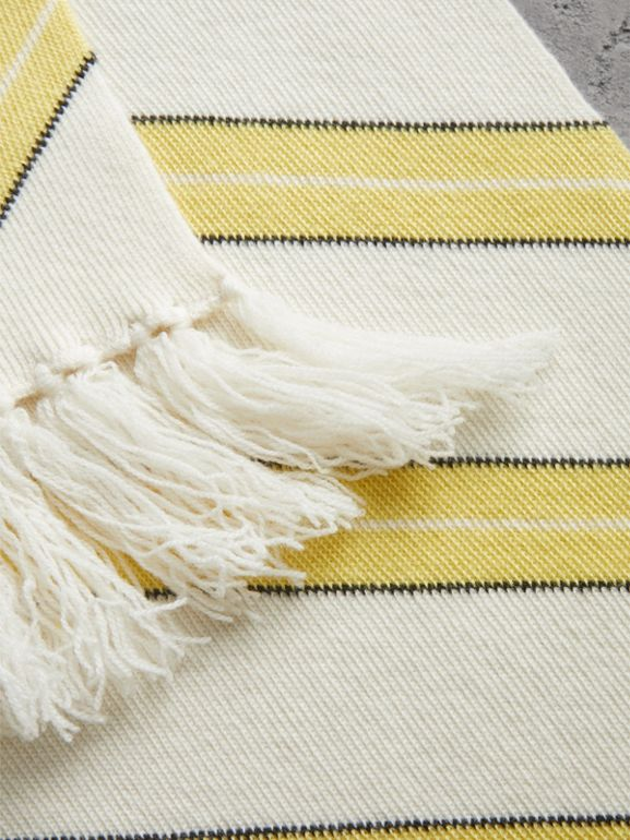 Tri-tone Striped Wool Cashmere Scarf in Natural White | Burberry Canada - cell image 1
