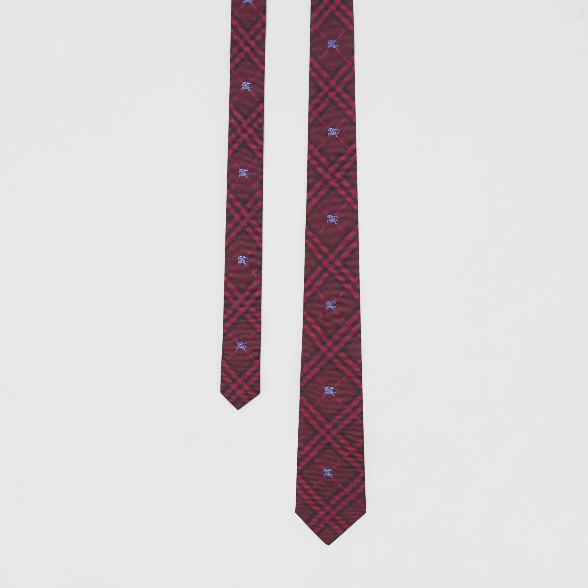 Slim Cut Equestrian Knight Check Silk Tie in Dark Elderberry - Men | Burberry Canada - gallery image 0