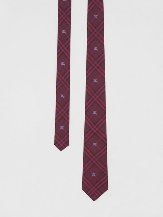 Slim Cut Equestrian Knight Check Silk Tie in Dark Elderberry