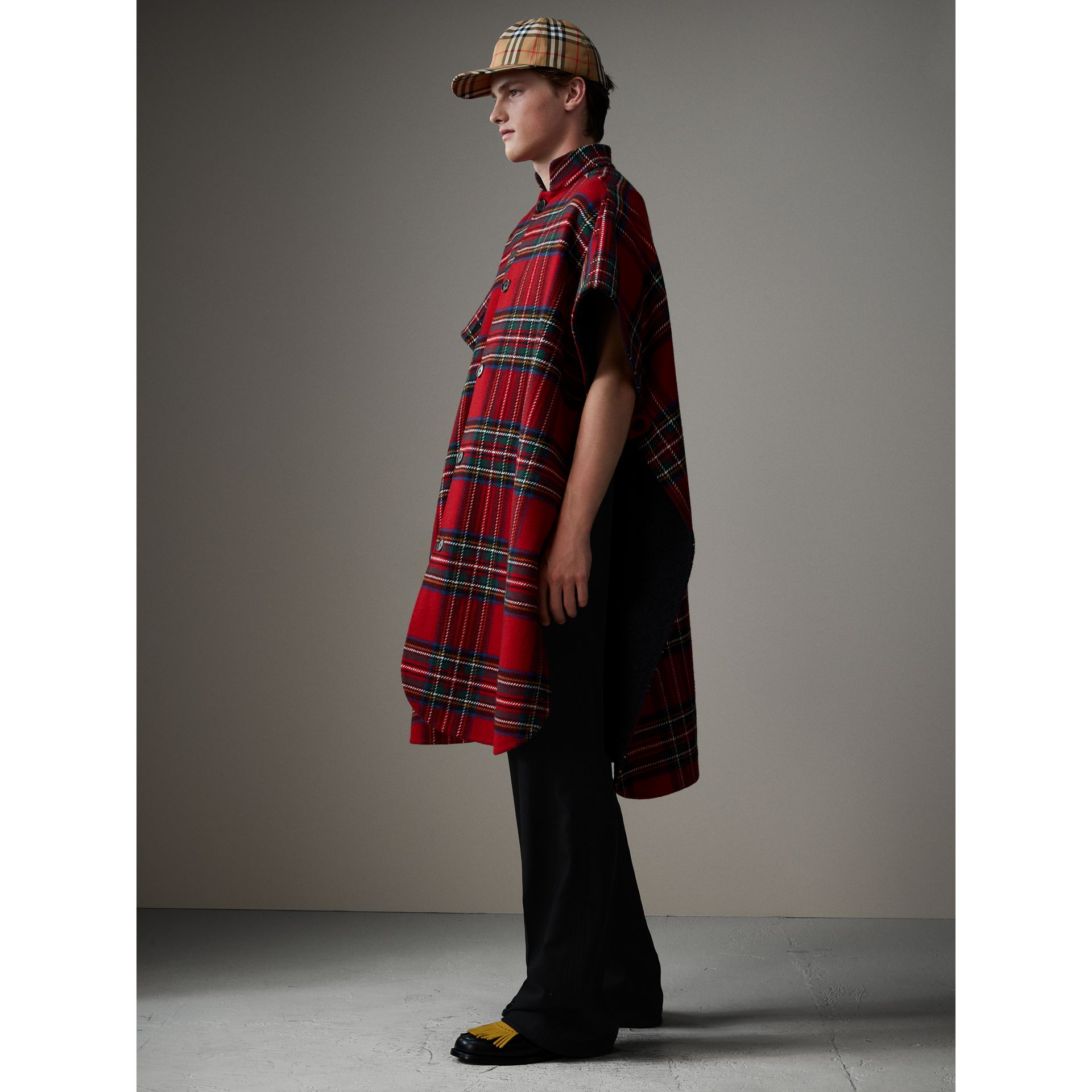 Reversible Tartan Wool Cashmere Poncho in Bright Red/dark Grey - Men | Burberry - gallery image 6