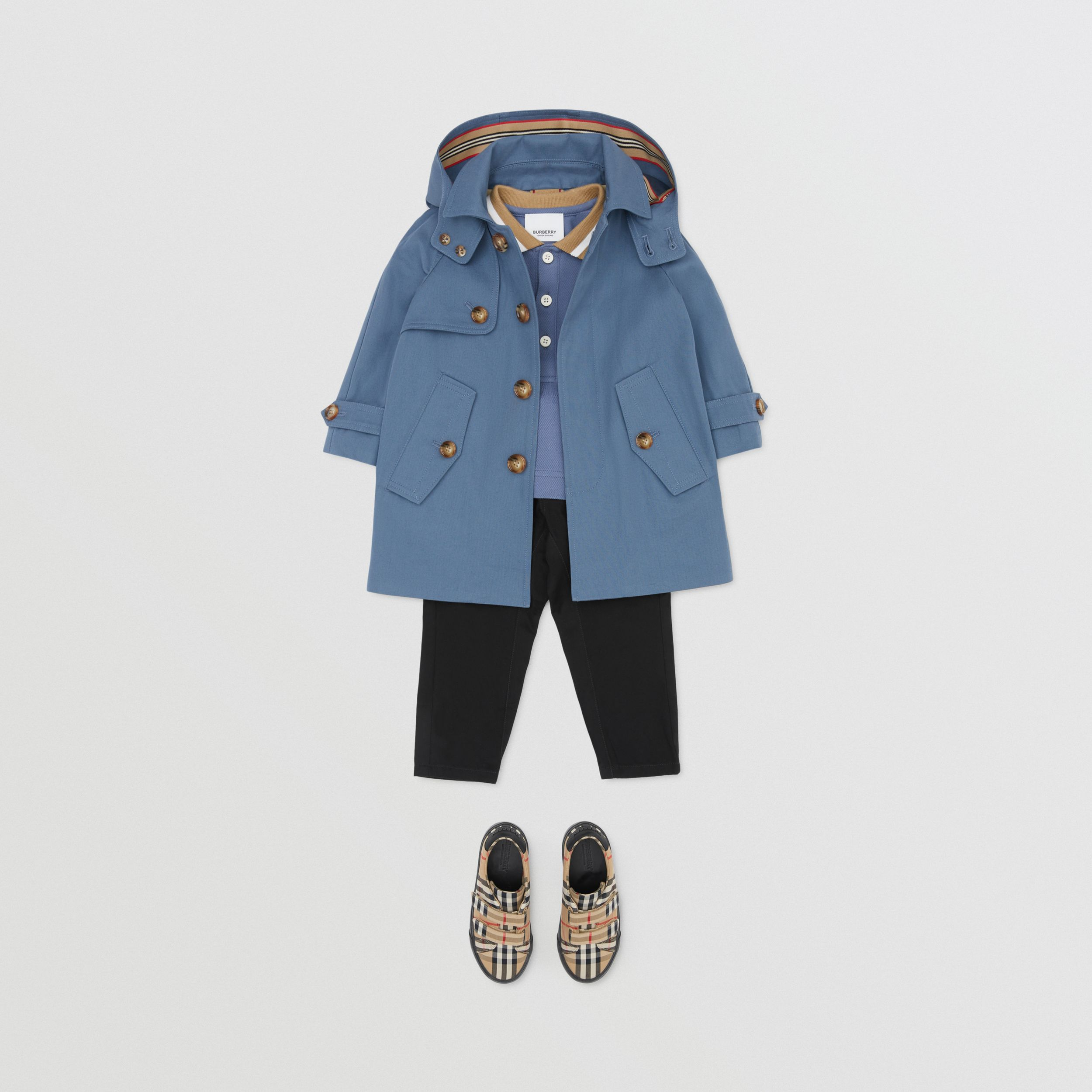 Detachable Hood Cotton Twill Car Coat in Steel Blue - Children | Burberry - 3