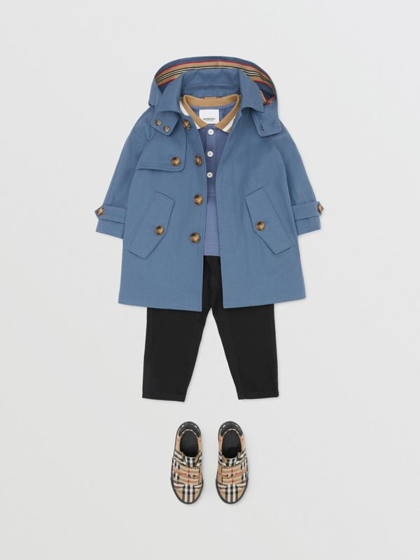 Detachable Hood Cotton Twill Car Coat in Steel Blue - Children | Burberry - cell image 2