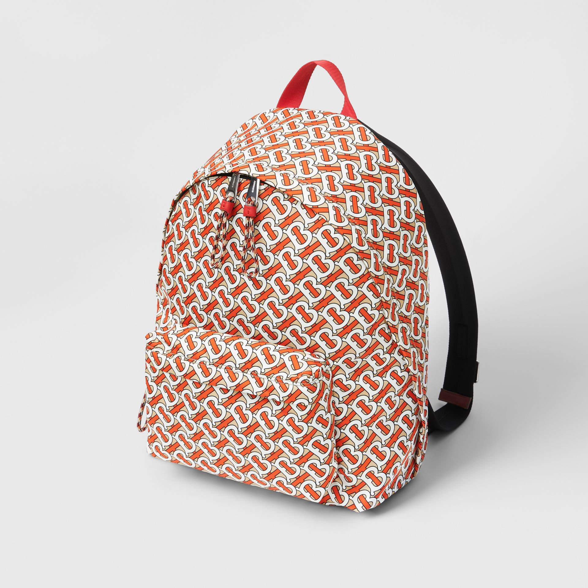 Monogram Print Nylon Backpack in Vermillion | Burberry United Kingdom - gallery image 3