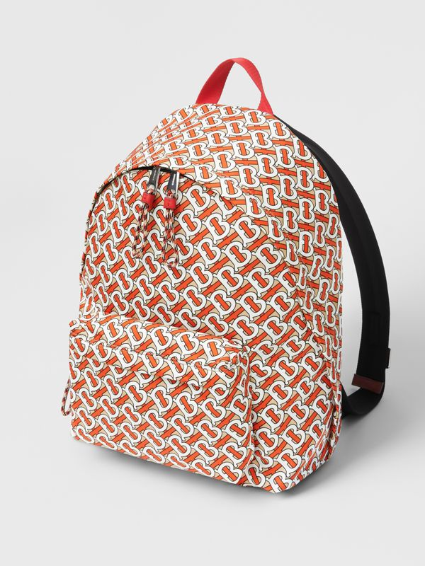 Monogram Print Nylon Backpack in Vermillion | Burberry United Kingdom - cell image 3