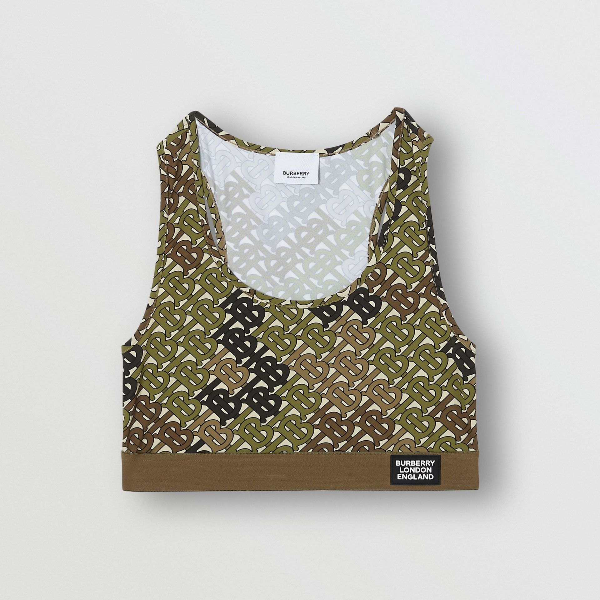 Monogram Print Stretch Jersey Bra Top in Khaki Green - Women | Burberry - gallery image 3
