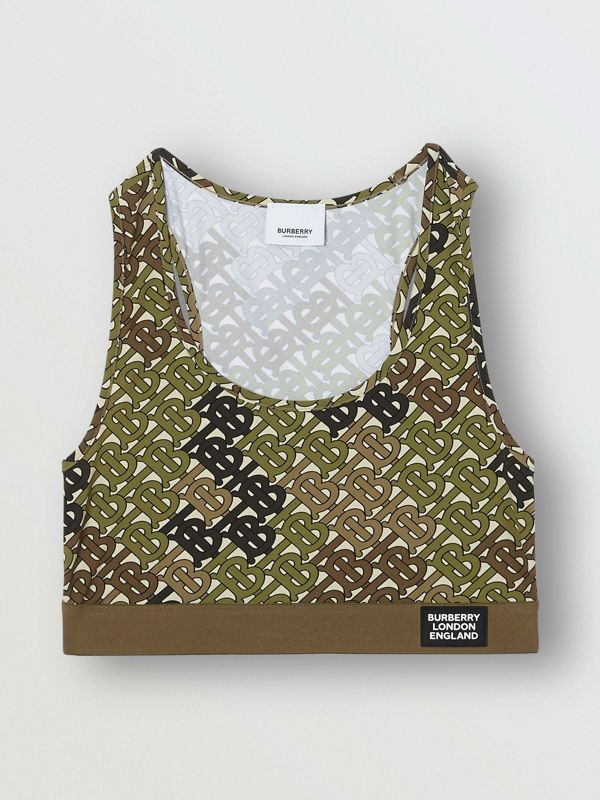 Monogram Print Stretch Jersey Bra Top in Khaki Green - Women | Burberry United Kingdom - cell image 3