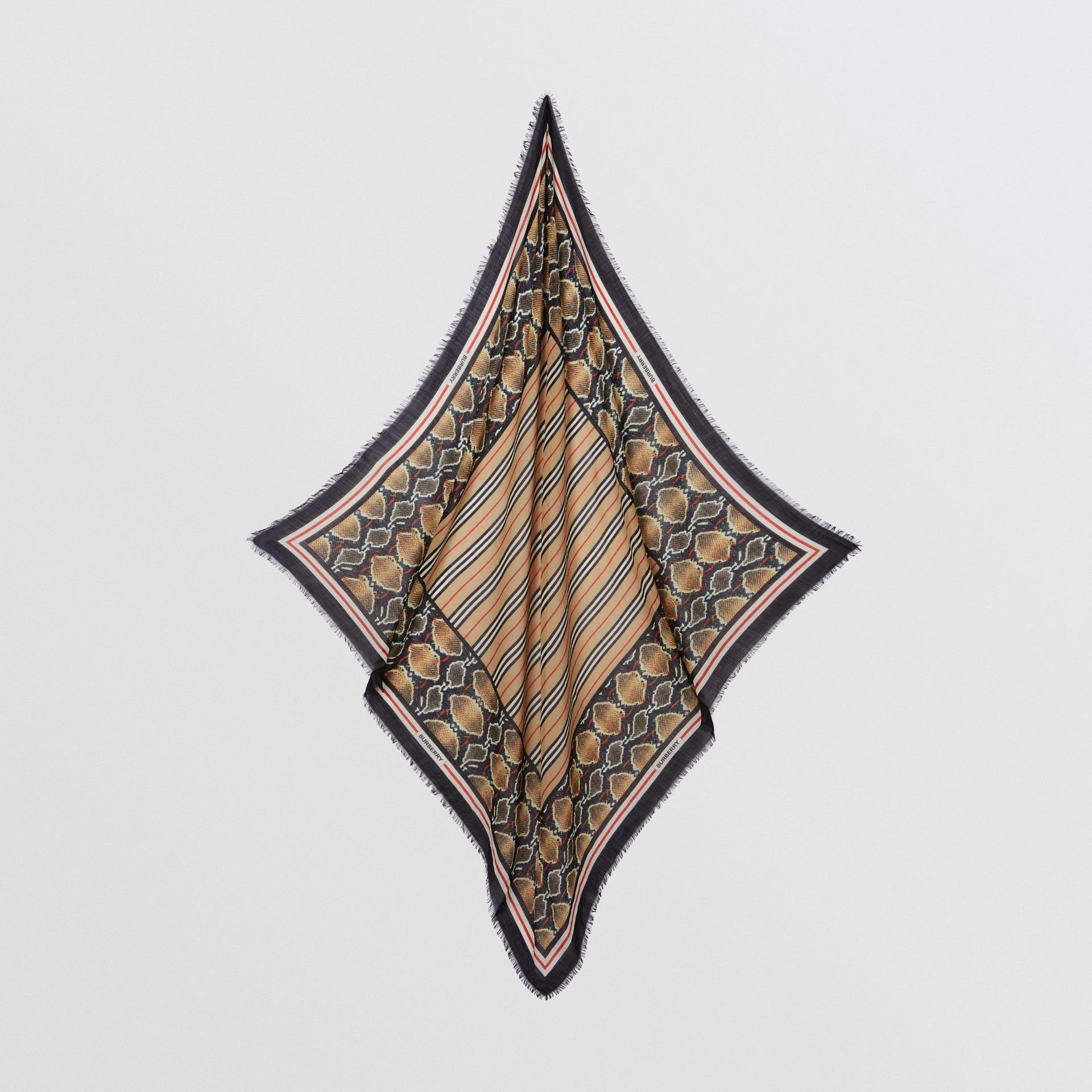 Icon Stripe Wool Silk Large Square Scarf in Archive Beige | Burberry - gallery image 3