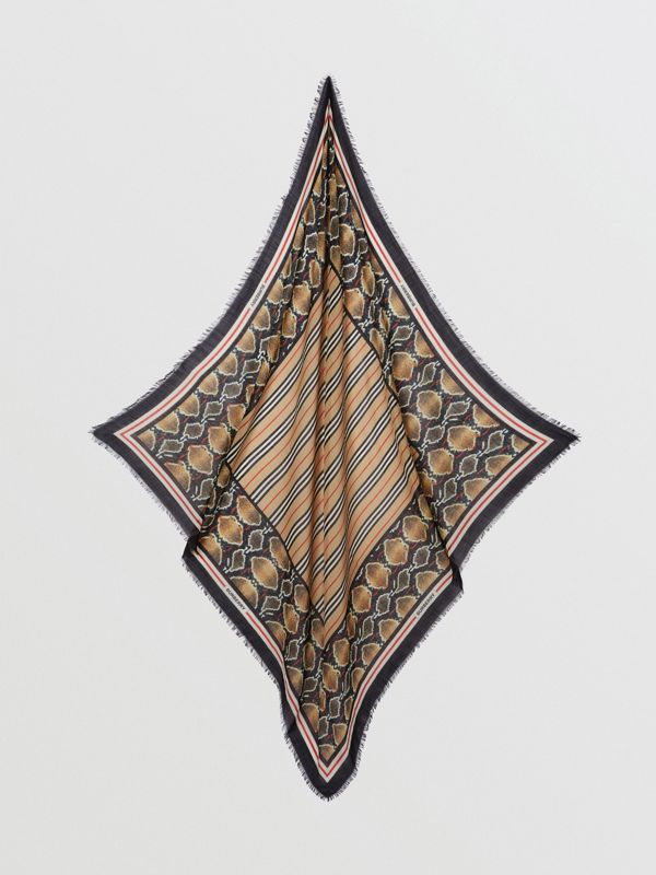 Icon Stripe Wool Silk Large Square Scarf in Archive Beige | Burberry - cell image 3
