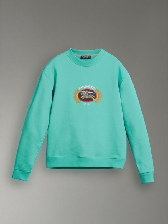 Reissued Jersey Sweatshirt in Aqua - Women | Burberry - cell image 3