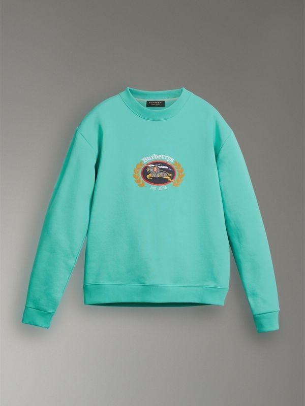 Reissued Jersey Sweatshirt in Aqua - Women | Burberry Singapore - cell image 3