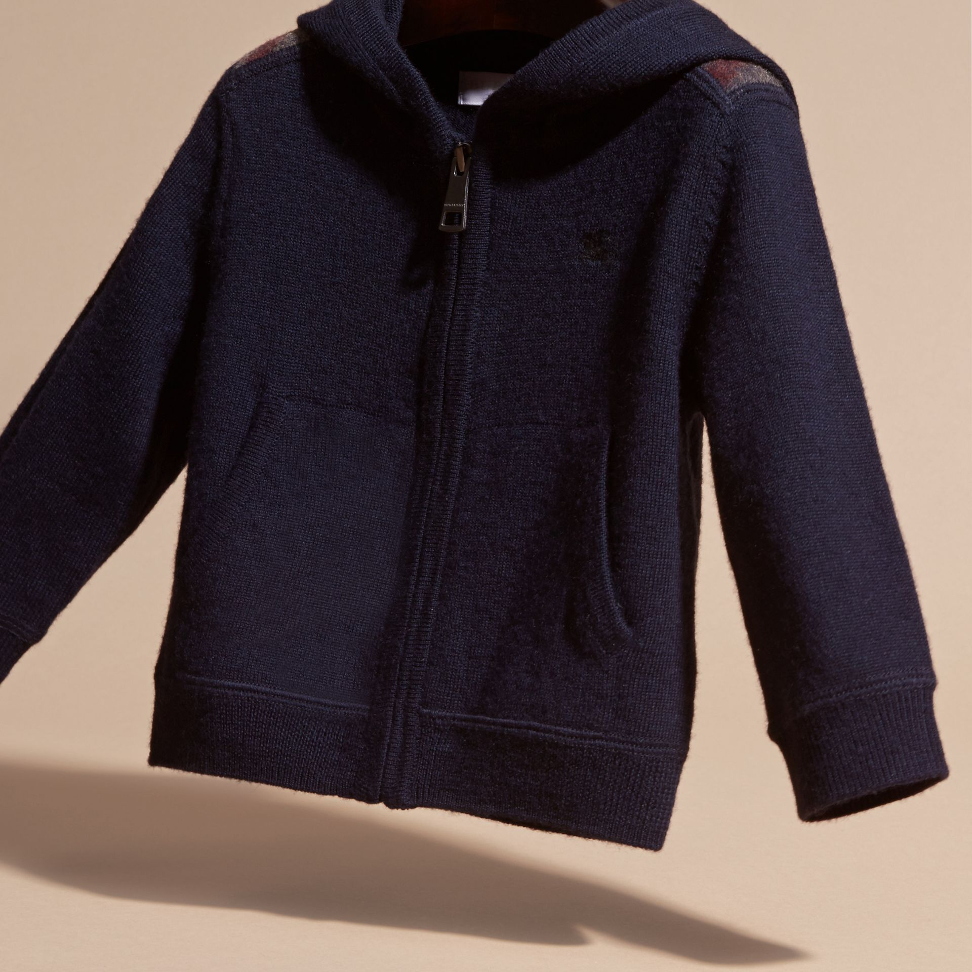 Navy Check Trim Merino Wool Hooded Top - gallery image 3
