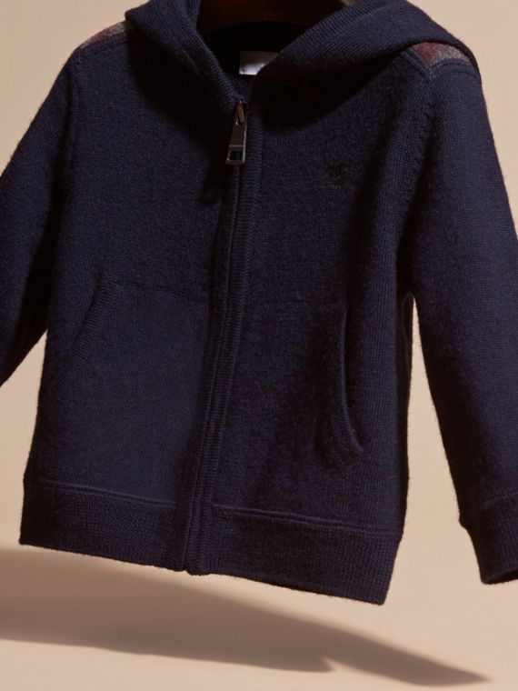 Check Trim Merino Wool Hooded Top - cell image 2