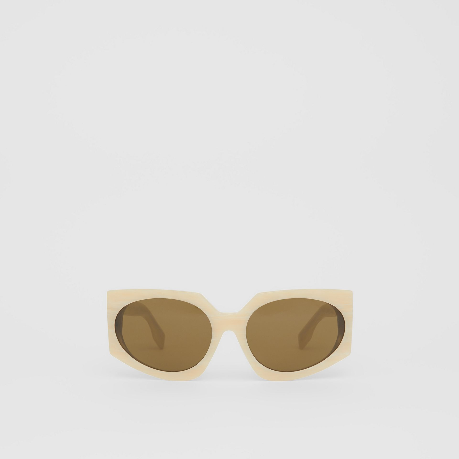 Geometric Frame Sunglasses in Light Horn - Women | Burberry - gallery image 0