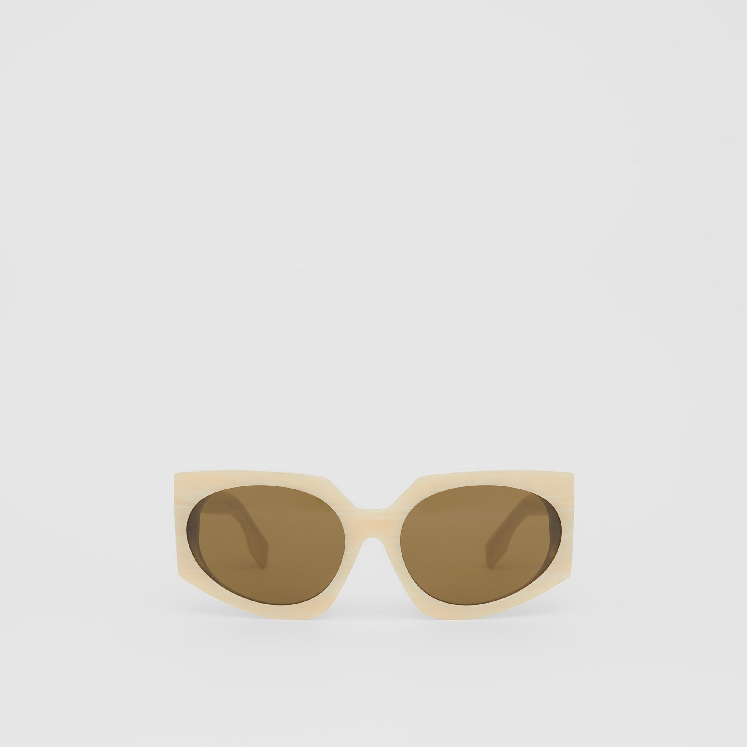 Geometric Frame Sunglasses in Light Horn - Women | Burberry - 1