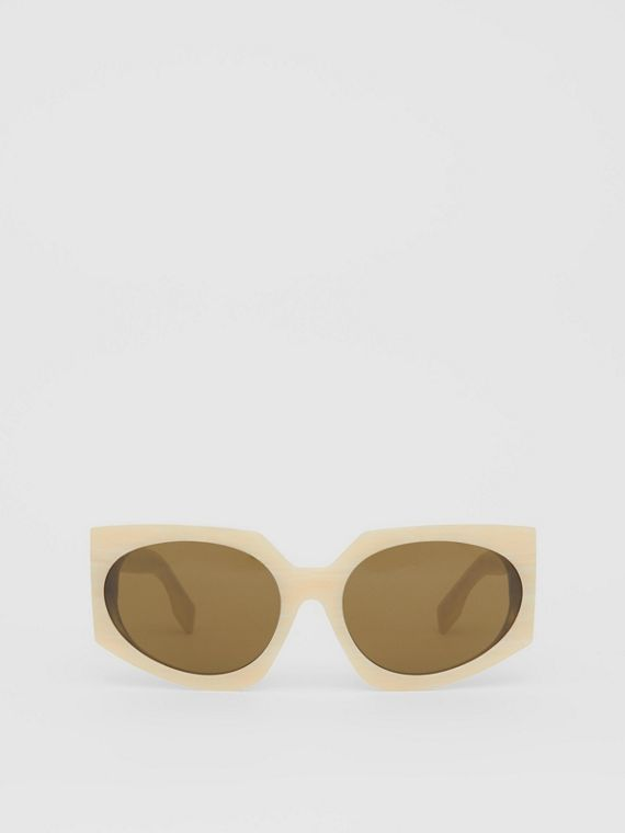 Geometric Frame Sunglasses in Light Horn
