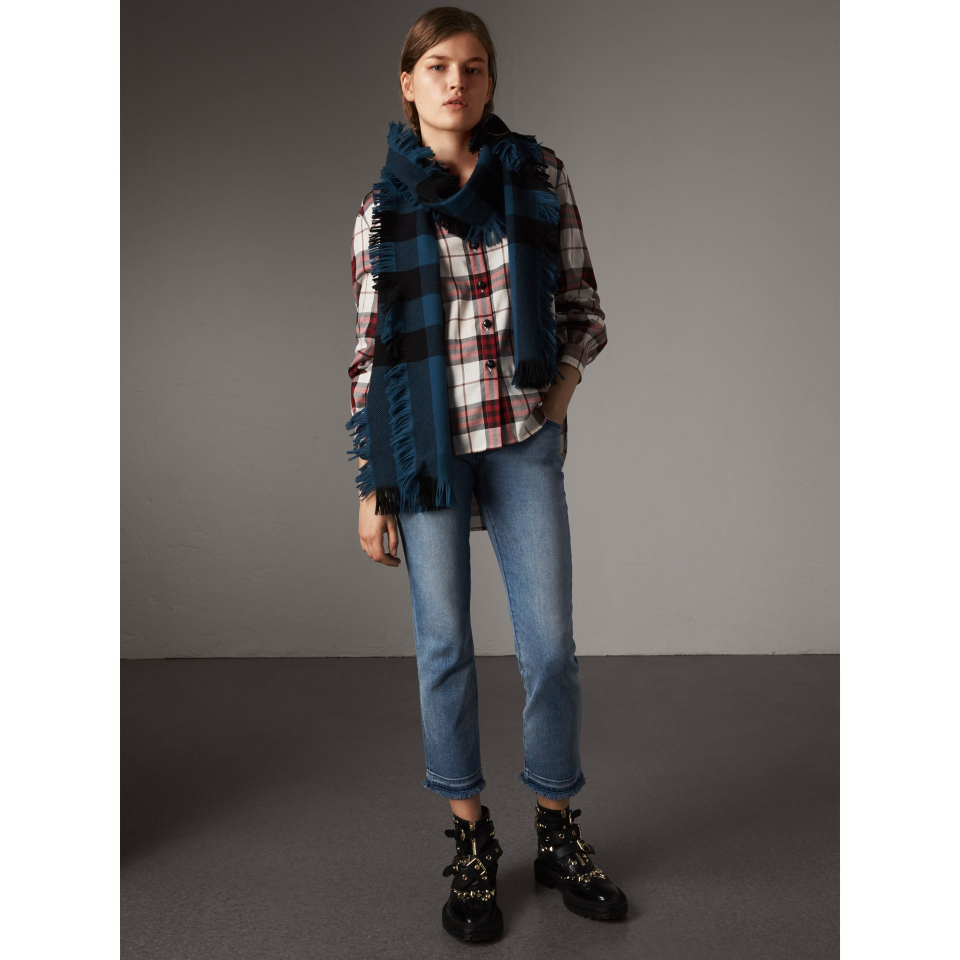 Check Cotton Flannel Military Shirt in Crimson Red - Women | Burberry - gallery image 5
