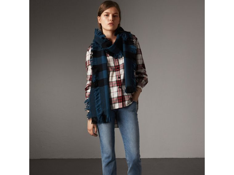 Check Cotton Flannel Military Shirt in Crimson Red - Women | Burberry United States - cell image 4