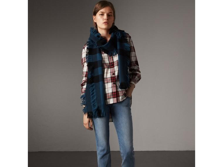 Bluse im Military-Stil aus Baumwollflanell mit Karomuster (Karmesinrot) - Damen | Burberry - cell image 4