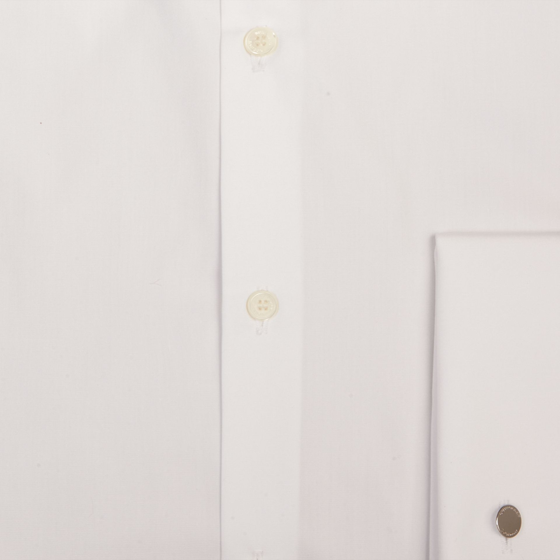 White Slim Fit Double-cuff Cotton Poplin Shirt - gallery image 2