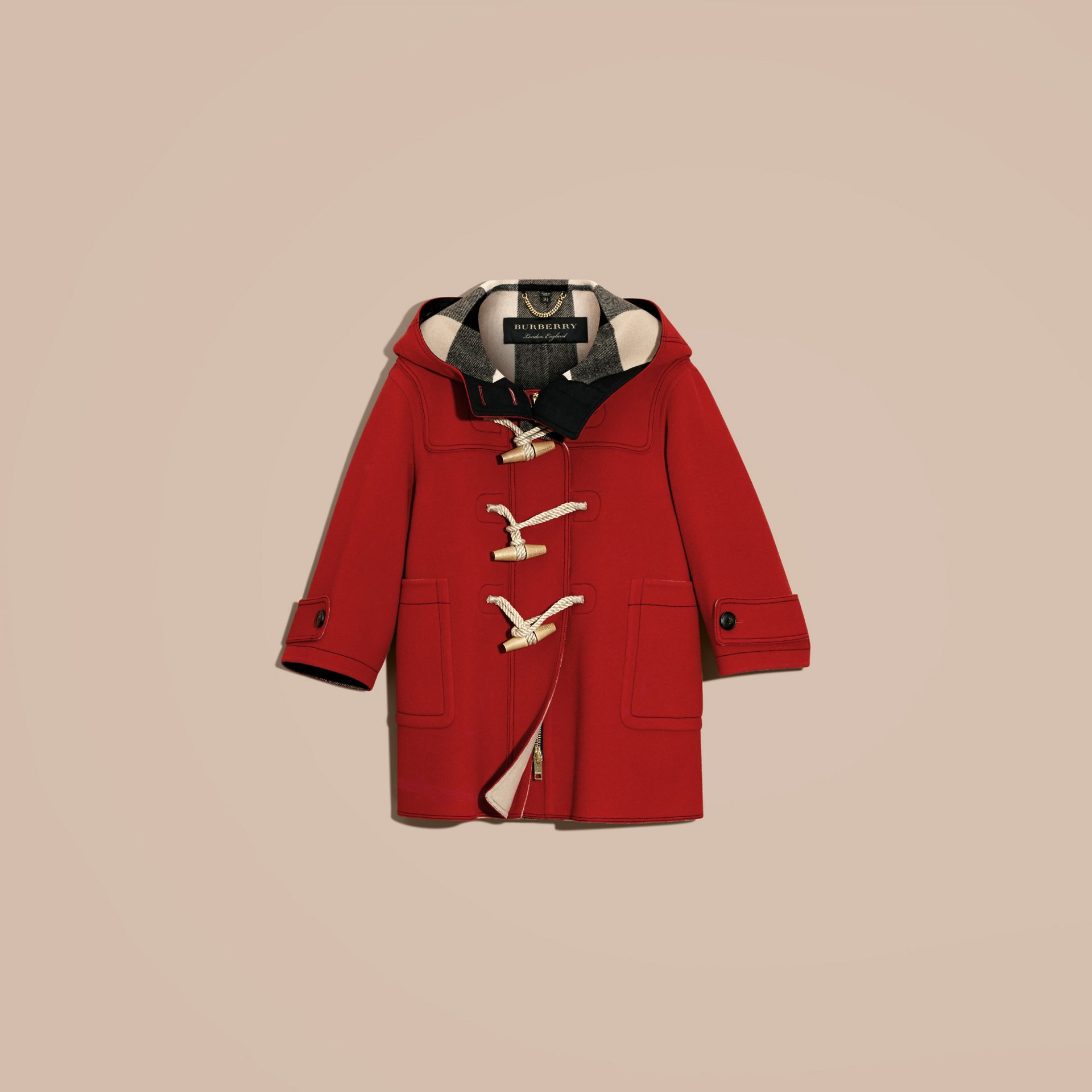 Military red Double-faced Technical Wool Duffle Coat - gallery image 4