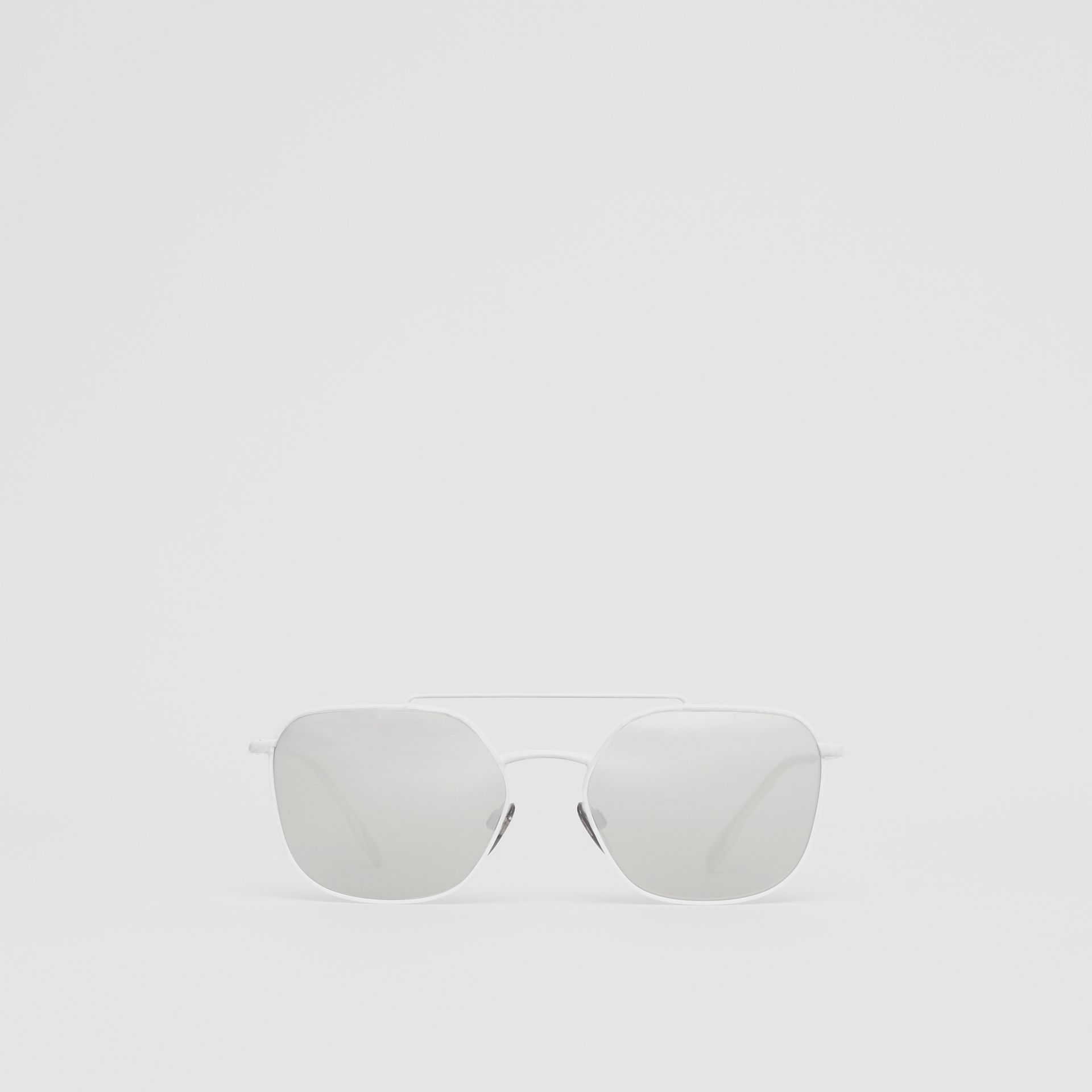 Top Bar Detail Square Pilot Sunglasses in Matt White - Men | Burberry - gallery image 0