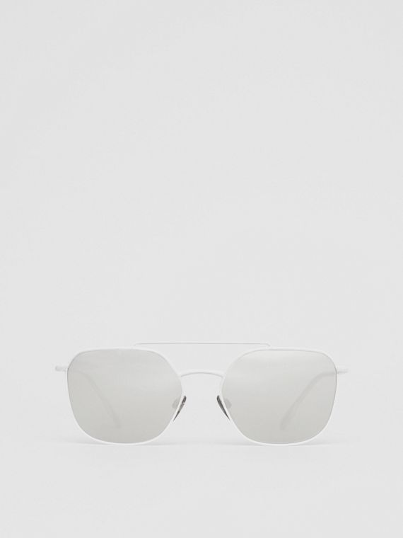Top Bar Detail Square Pilot Sunglasses in Matt White