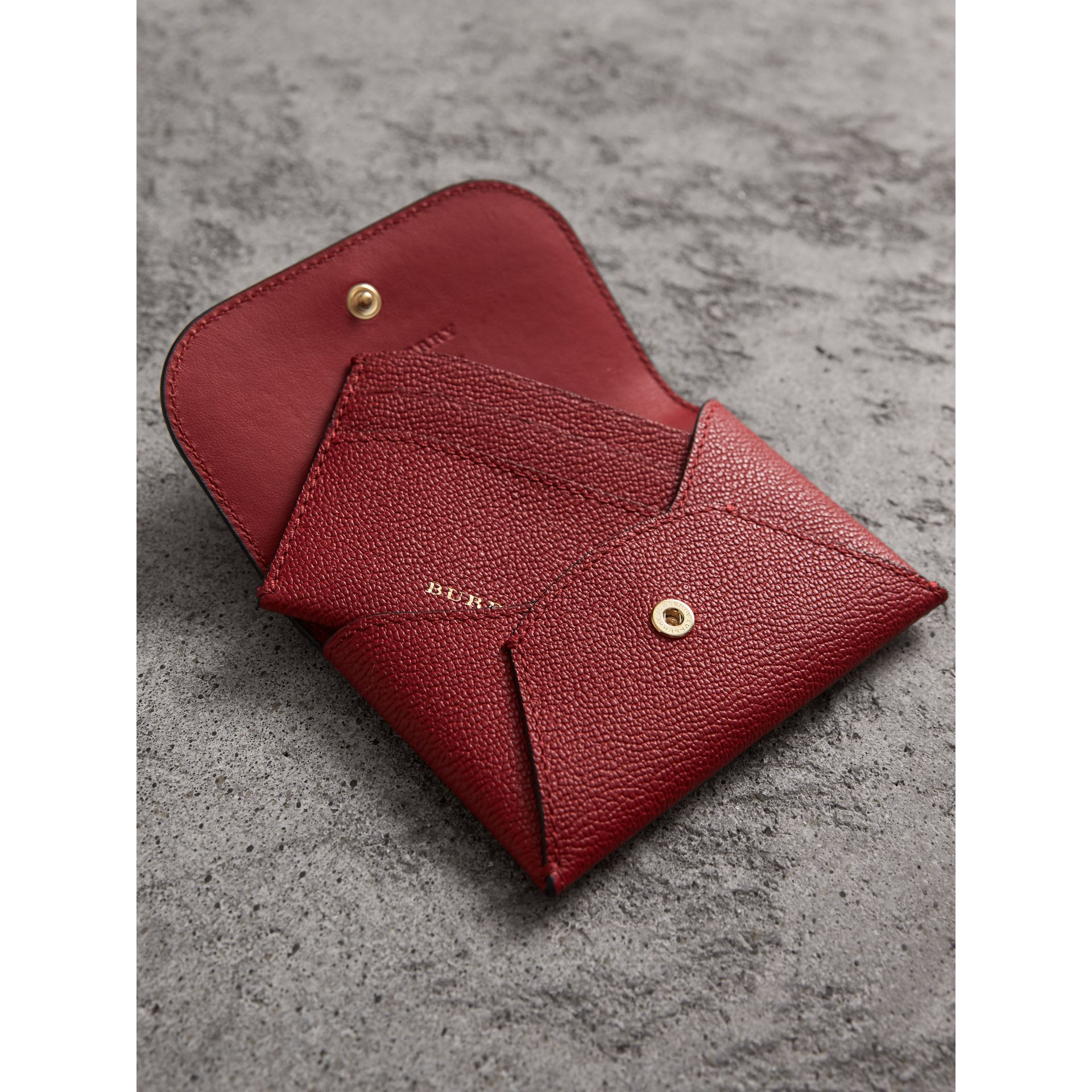 Leather Coin Case with Removable Card Compartment in Parade Red - Women | Burberry - gallery image 4
