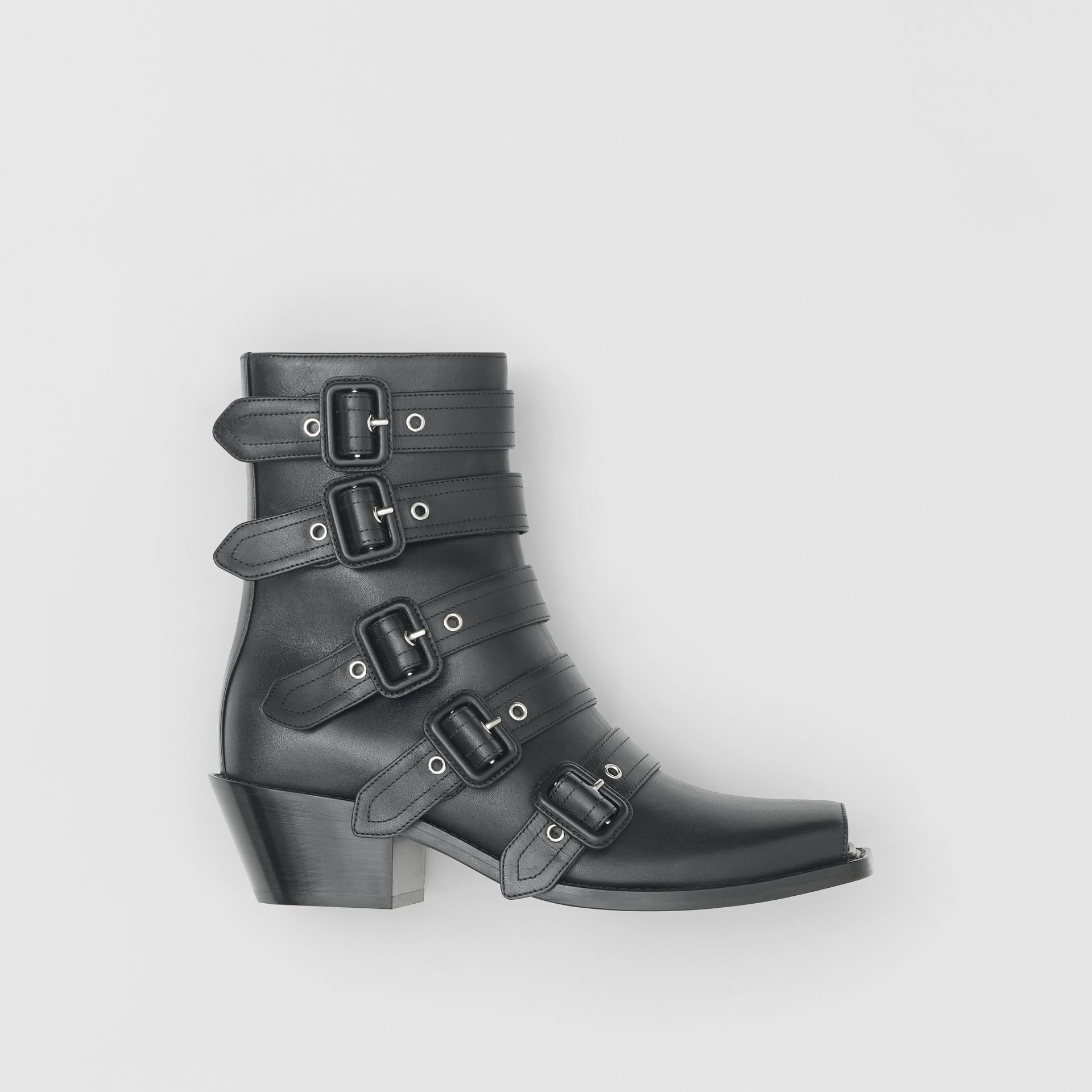 Buckled Leather Peep-toe Ankle Boots in Black - Women | Burberry - gallery image 0