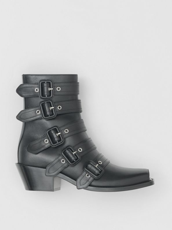 Buckled Leather Peep-toe Ankle Boots in Black