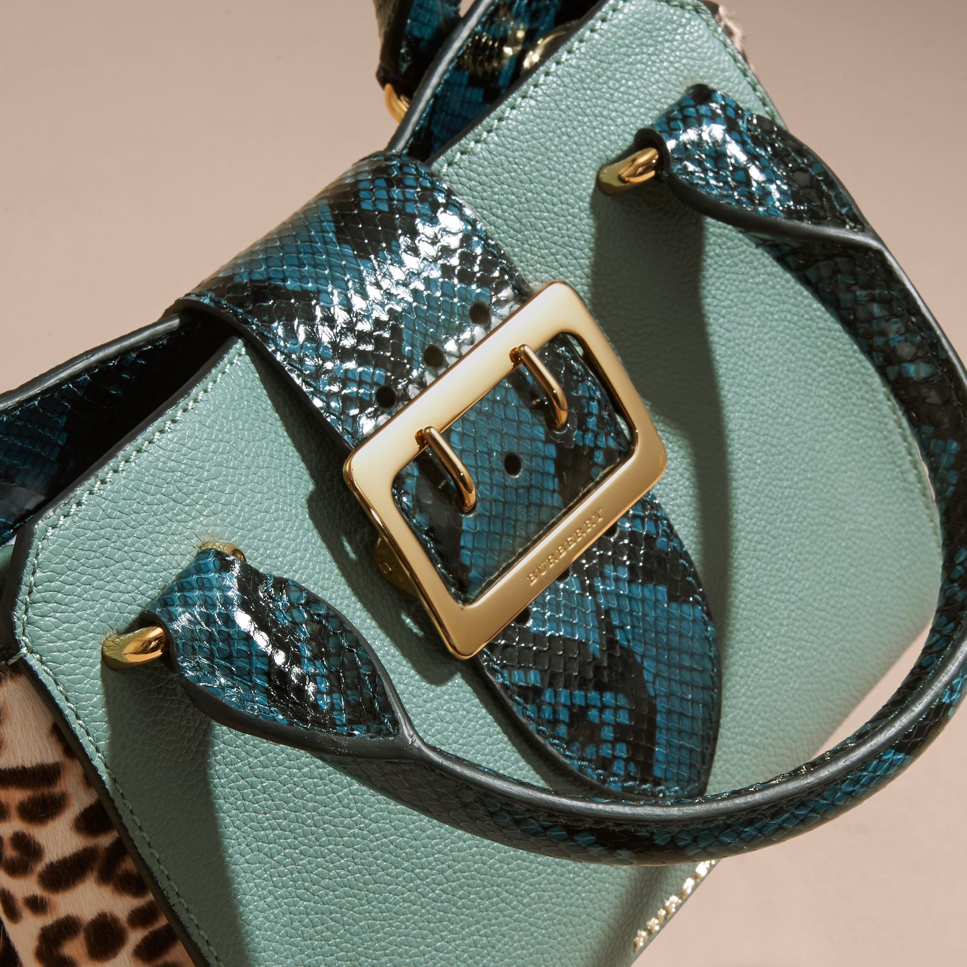 The Small Buckle Tote in Leather and  Leopard-print Calfskin Eucalyptus Green - gallery image 2