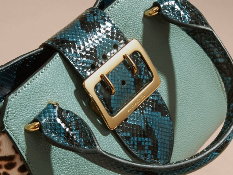 The Small Buckle Tote in Leather and  Leopard-print Calfskin Eucalyptus Green - cell image 1