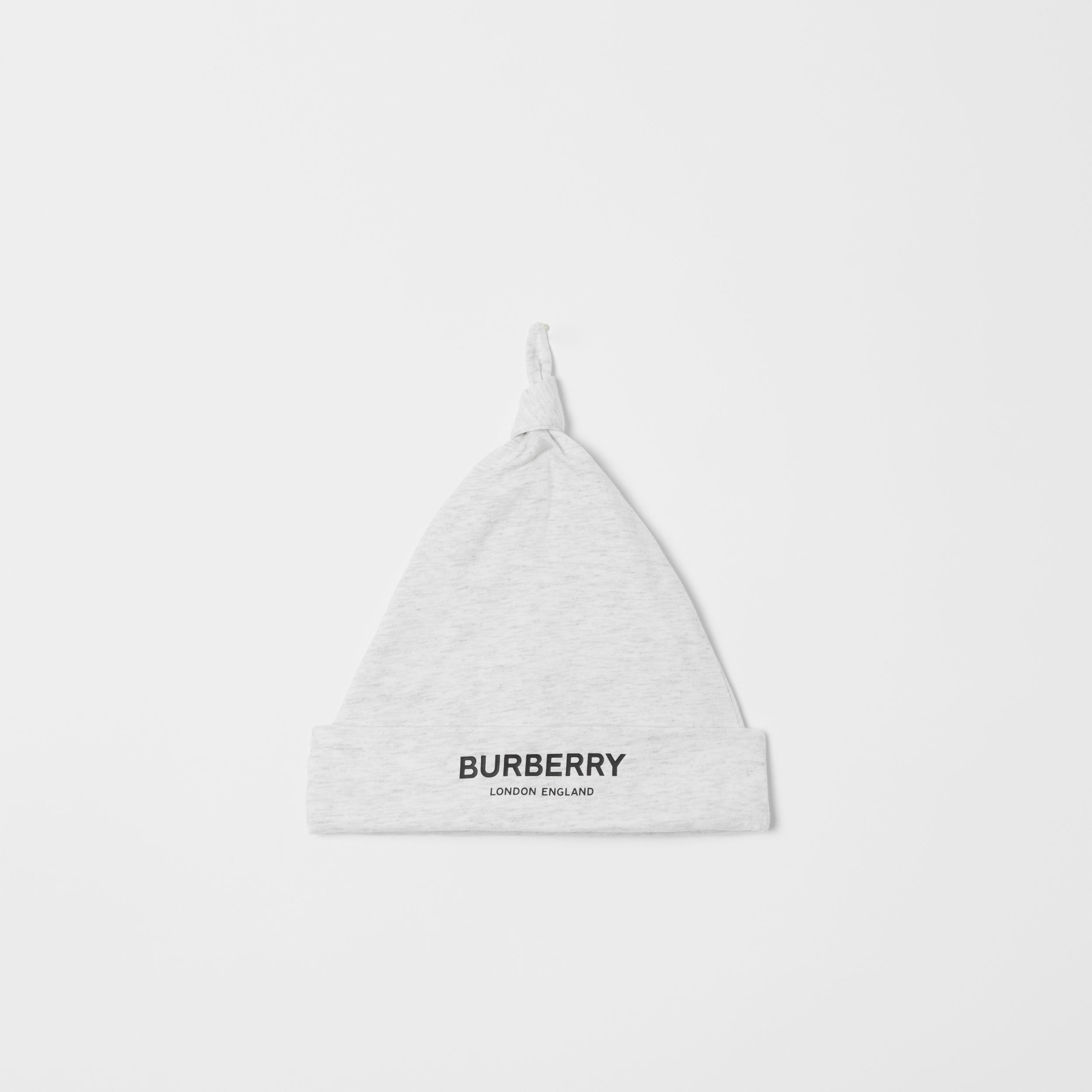 Logo Print Cotton Three-piece Baby Gift Set in White Melange - Children | Burberry - 4