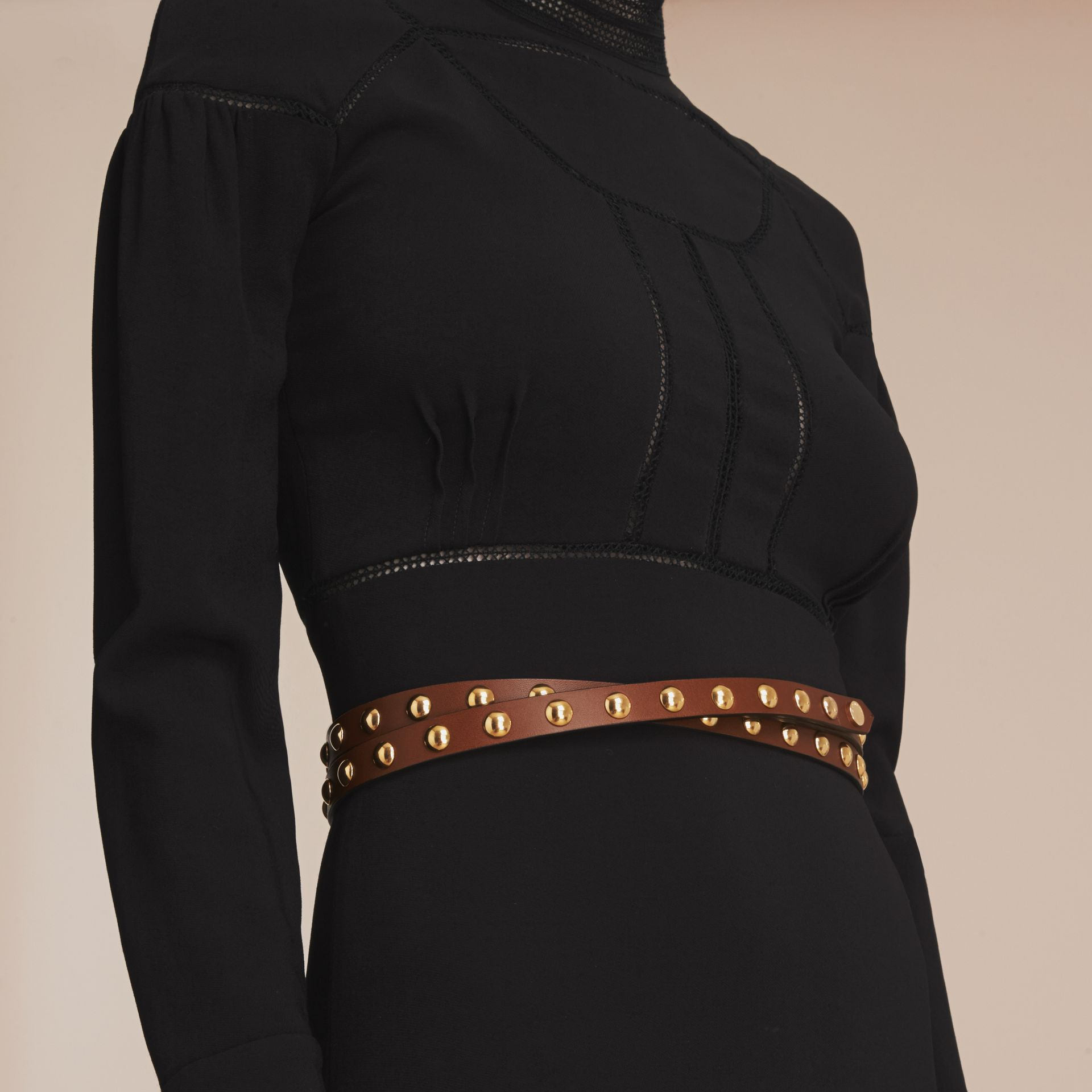 Studded Bridle Leather Double-wrap Belt in Tan - Women | Burberry - gallery image 2