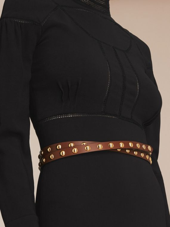 Studded Bridle Leather Double-wrap Belt in Tan - Women | Burberry Australia - cell image 2