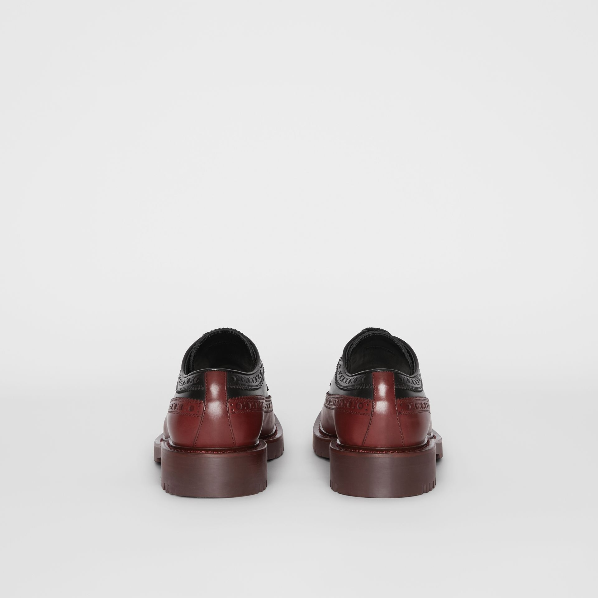 Brogue Detail Leather Derby Shoes in Black/antique Garnet - Men | Burberry United Kingdom - gallery image 4