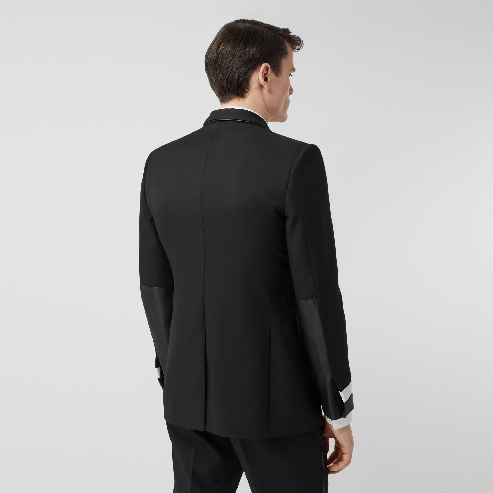 Classic Fit Lambskin Detail Wool Tailored Jacket in Black | Burberry United Kingdom - gallery image 2