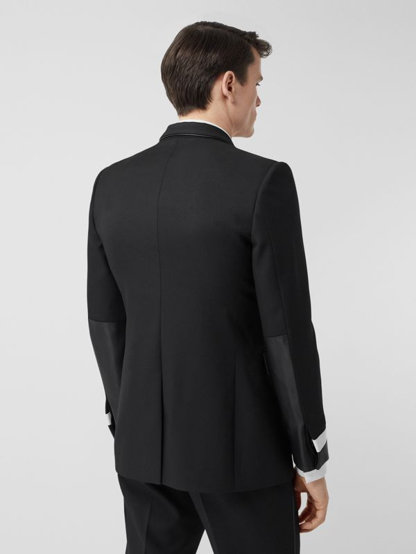 Classic Fit Lambskin Detail Wool Tailored Jacket in Black | Burberry United Kingdom - cell image 2