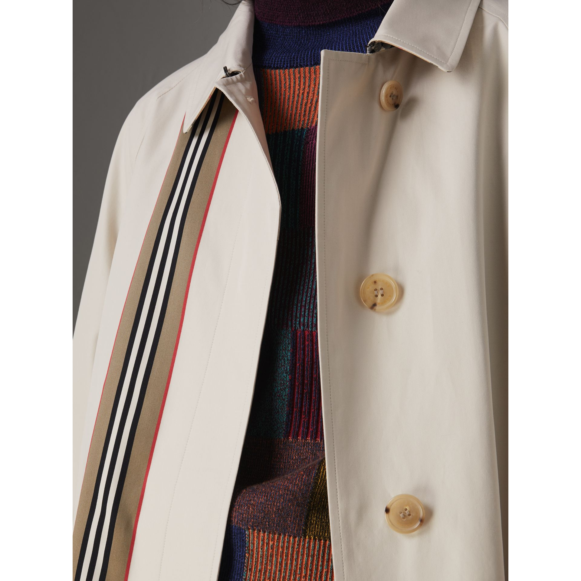 Striped Ribbon Cotton Gabardine Car Coat in Stone - Women | Burberry Australia - gallery image 1