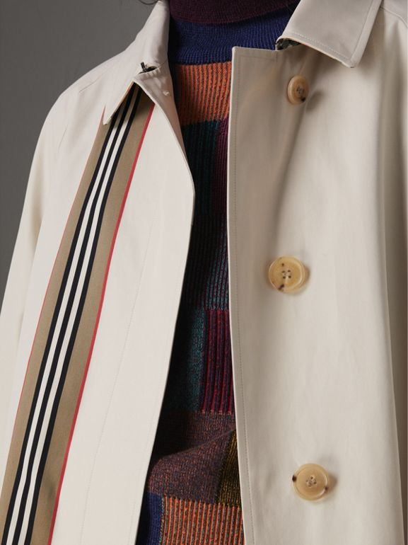 Striped Ribbon Cotton Gabardine Car Coat in Stone - Women | Burberry Hong Kong - cell image 1