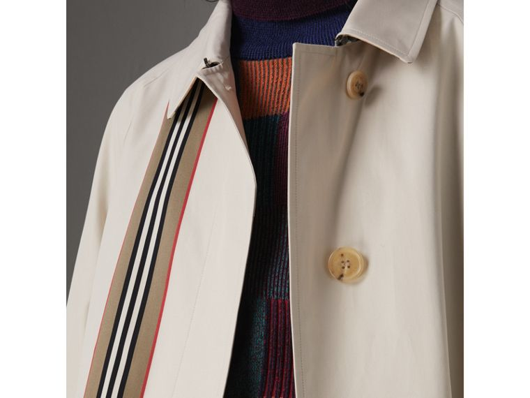 Heritage Stripe Cotton Gabardine Car Coat in Stone - Women | Burberry - cell image 1